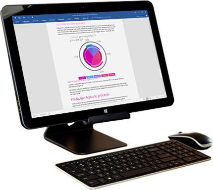 """Kompiuterio monitorius, kuriame rodomos """"Microsoft Word"""" bendrinimo parinktys."""