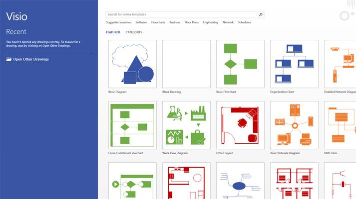 """""""Visio"""" ekranas, kuriame rodomi naujausi failai ir atrinkti """"Visio"""" šablonai."""