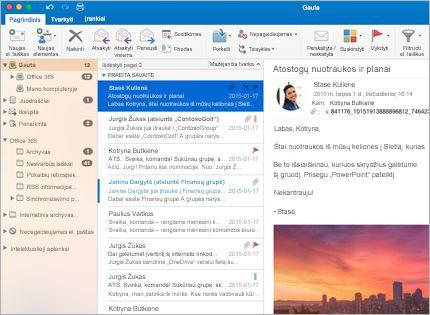 """""""Microsoft Outlook 2013"""" aplanko Gauta su laiškų sąrašu ir peržiūra ekrano kopija."""
