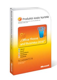 """""""Office 2010"""" produkto kodo kortelė"""