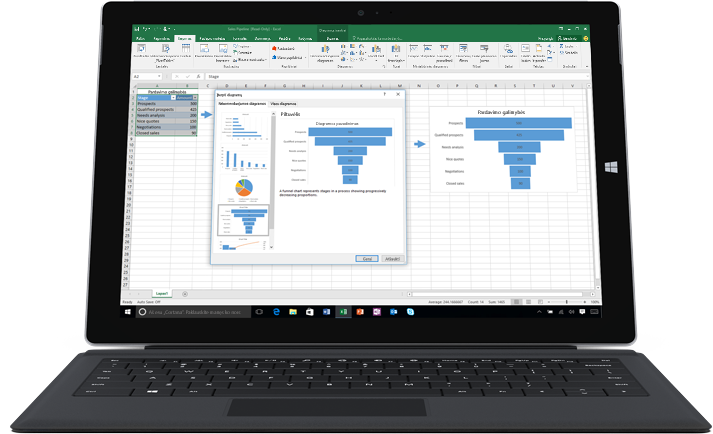 """Nešiojamasis kompiuteris, kuriame matoma """"Excel"""" skaičiuoklė su dviem diagramomis, iliustruojančiomis duomenų modelius."""