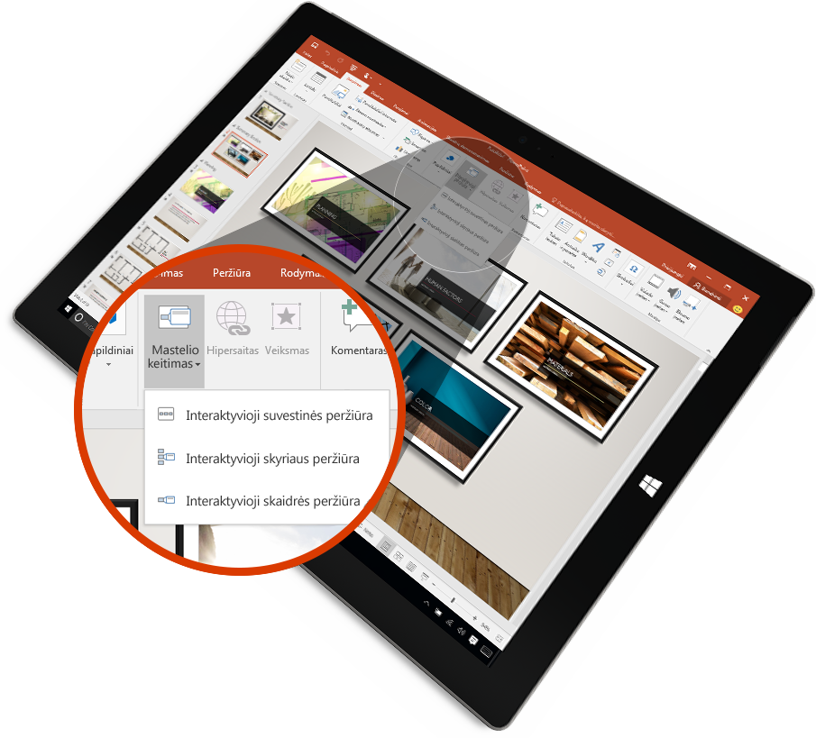 """Planšetinis kompiuteris, kuriame matoma """"PowerPoint"""" skaidrė pateikties režimu su žymėjimu."""