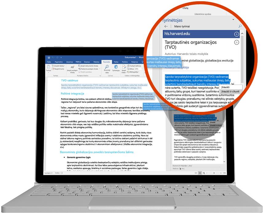 """Nešiojamojo kompiuterio ekrane rodomas """"Word"""" dokumentas, kuriame naudojamas """"PowerPoint"""" tyrinėtojas"""