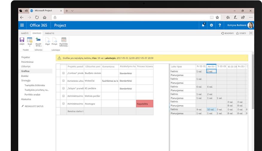 Įrenginys su išteklių užklausos skaičiuoklės ataskaita ir telefono ekranas, kuriame rodomi kalendoriaus rodiniai, skirti stebėti tvarkaraščius ir kitas užduotis.