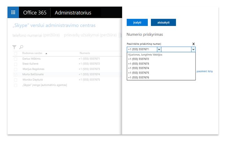 """Nešiojamojo kompiuterio ekranas, kuriame rodomi """"Skype"""" verslui serverio leidimo administravimo įrankiai"""