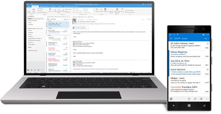 """Planšetinis kompiuteris ir išmanusis telefonas, kuriuose rodomas """"Office 365"""" el. pašto aplankas Gauta."""