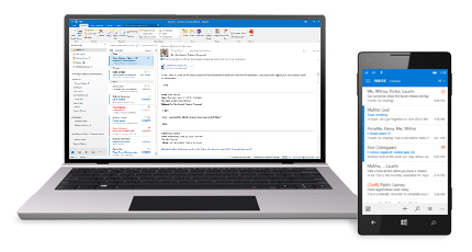 """Planšetinis kompiuteris ir išmanusis telefonas, kuriame matomas """"Office 365"""" el. pašto aplankas Gauta."""
