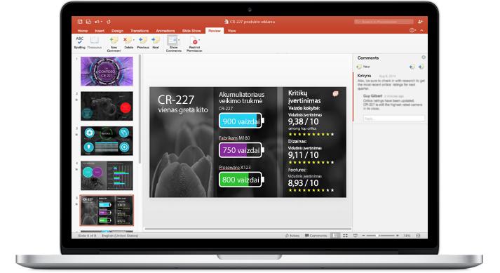 """Nešiojamasis kompiuteris, kurio ekrane matomos """"PowerPoint"""" pateikties, su kuria dirbo komanda, skaidrės."""