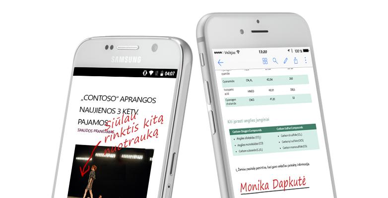 Du išmanieji telefonai, kuriuose rodomi dokumentai ir ranka rašytos pastabos apie juos