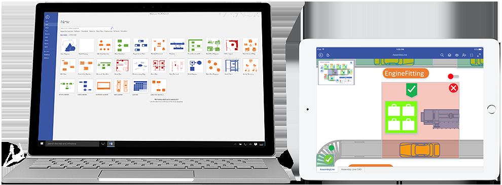 """""""Visio Online Plan 2"""" diagramos nešiojamo kompiuterio ir """"iPad"""" ekrane."""