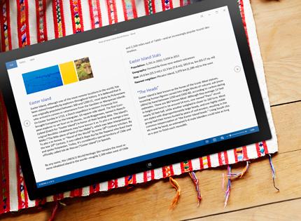 """Planšetinis kompiuteris, kuriame matomas """"Word"""" dokumentas skaitymo režimu."""