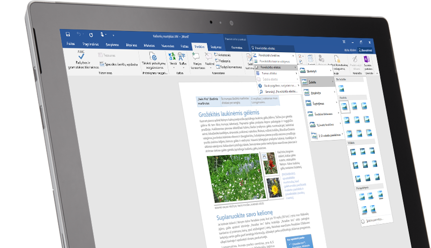 """""""Surface"""" planšetinio kompiuterio ekrane rodoma """"Word"""" dokumento funkcija Ką norite daryti."""