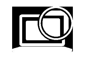 Grafinė iliustracija, kurioje pavaizduotas nešiojamasis kompiuteris, kurio ekrano dalis padidinta ties apskritimu