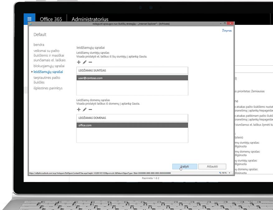 """Planšetinis kompiuteris, kuriame rodomas """"Office 365"""" administravimo konsolėje esantis apsaugos nuo šiukšlių politikos redagavimo langas bei leidžiamas siuntėjas ir domenas"""
