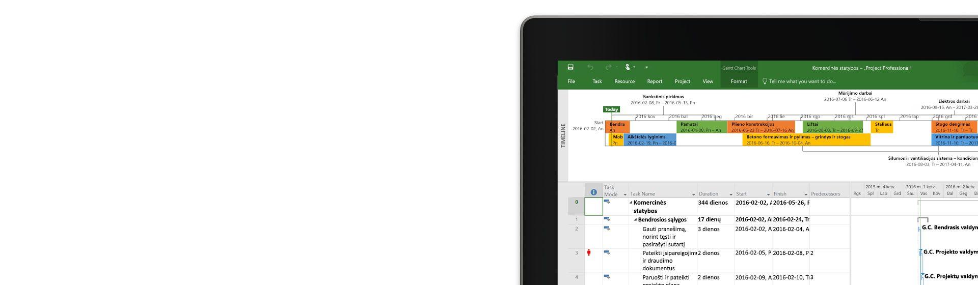 """Planšetinio kompiuterio ekrano, kuriame rodomas """"Project Professional"""" projekto tvarkaraštis ir diagrama, kampas"""
