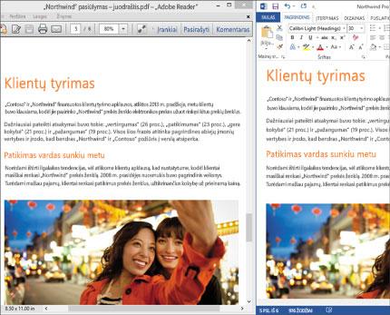 """Nešiojamasis kompiuteris, kuriame matomi du skirtingi to paties """"Word"""" dokumento maketai vienas šalia kito."""