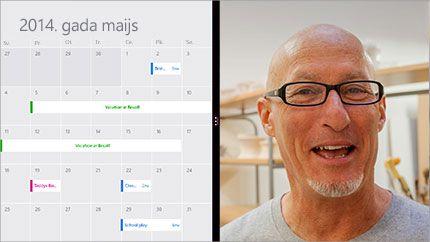 Video konferences ekrāns, kurā redzams koplietots kalendārs un dalībnieka attēls.