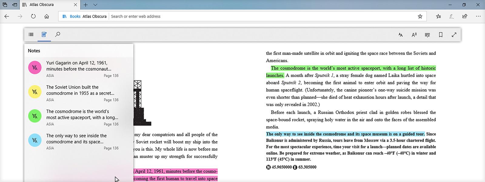 Attēls, kurā redzama teksta iezīmēšanas iespēja, lasot grāmatas pārlūkprogrammā Microsoft Edge