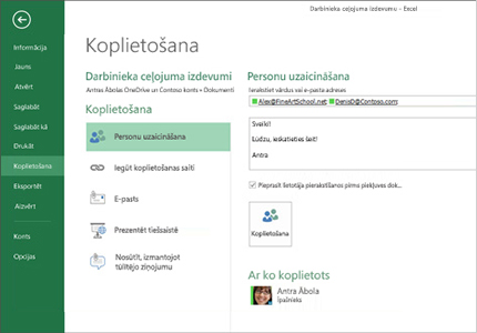 Datora monitors, kurā attēlotas Excel izklājlapu koplietošanas opcijas.