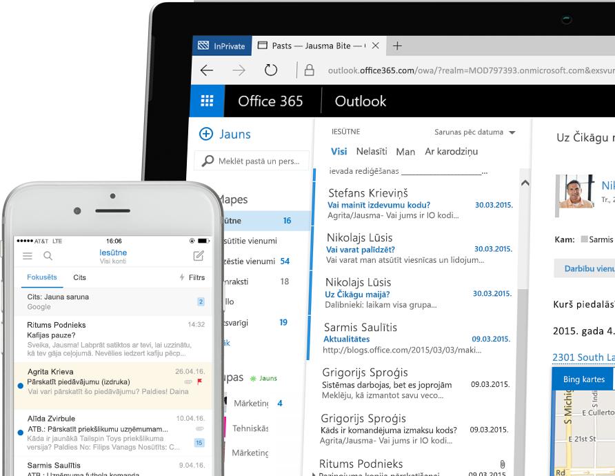 Exchange2016 viedtālrunī un Windows planšetdatorā