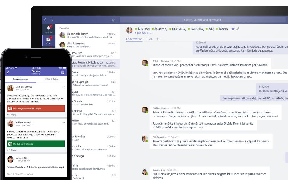 Microsoft Teams sarunas mobilajā ierīcē un galddatorā