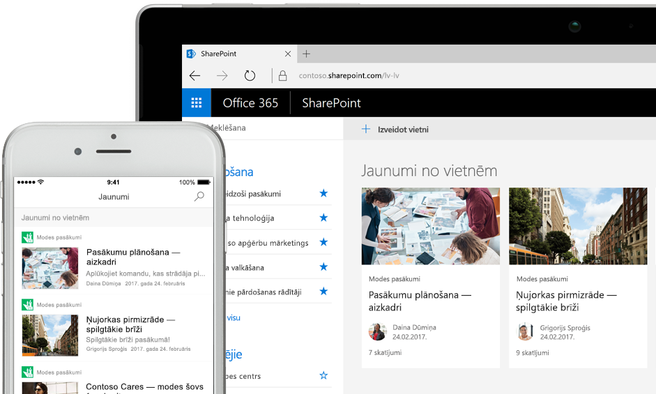 SharePoint ar jaunumiem viedtālrunī un ar jaunumiem un vietnes kartēm planšetdatorā