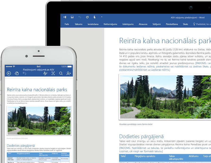 Mobilā tālruņa un planšetdatora ekrāns, kurā redzams Word dokuments par Reinīra kalna nacionālo parku