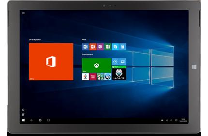 Ideāli ar Windows10. Planšetdators, kurā redzama sistēma Office, Office lietojumprogramma un citi elementi Windows 10 sākuma ekrānā.