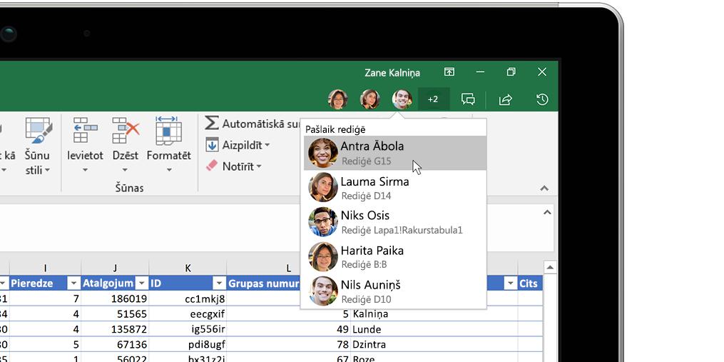 Excel darbgrāmata ar Insights logu pa labi