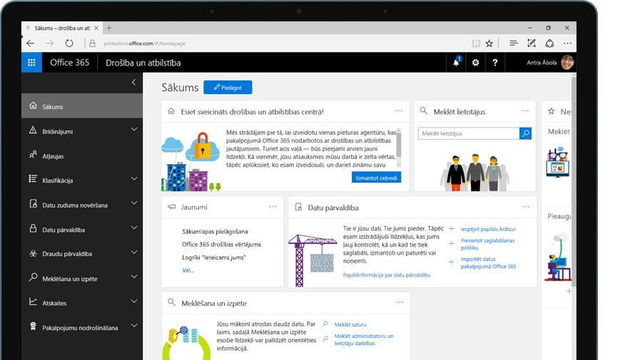 planšetdators, kurā redzama Office 365 drošības un atbilstības centra sākumlapa
