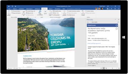 Planšetdatora ekrāns, kurā redzams rīks Word pētnieks dokumentā par Eiropas apceļošanu; papildinformācija par dokumentu izveidi, izmantojot iebūvētus Office rīkus