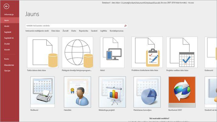 Jaunas datu bāzes ekrāns programmā Microsoft Access