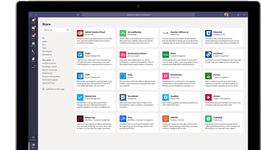 Microsoft App Store attēlojums pakalpojumā Microsoft Teams