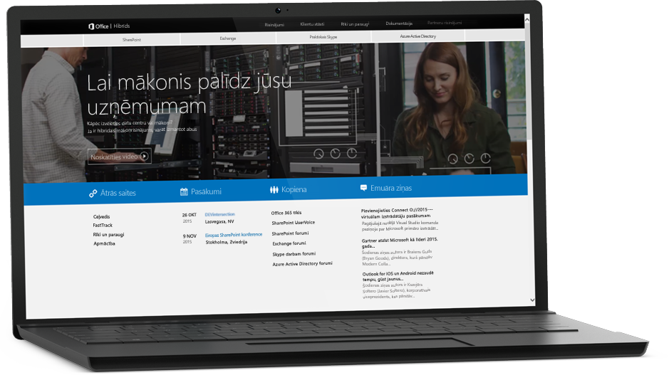 Klēpjdators, kura ekrānā redzama tīmekļa lapa, papildinformācija par SharePoint Server2016 vietnē Microsoft TechNet
