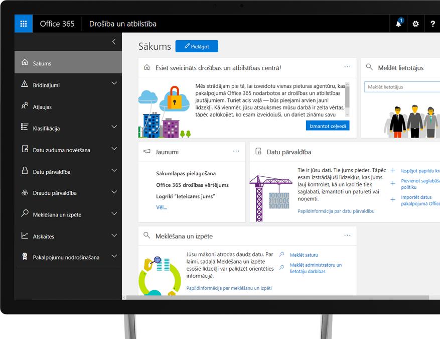 Office 365 drošības un atbilstības centrs Windows datora monitorā
