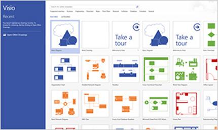 Ekrānuzņēmums ar Visio lapu pakalpojumā Office365.