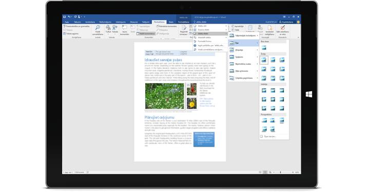 Ierīce Surface, kurā attēlots jaunais priekšāteikšanas līdzeklis Word dokumentā.