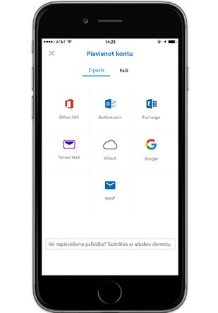 Outlook Mobile programma tālrunī iPhone, pielikuma pievienošana