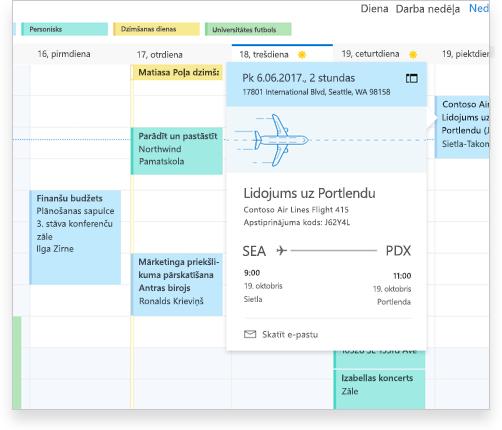 Exchange kalendārs, kurā redzama lidojuma informācija un citas tikšanās un pasākumi