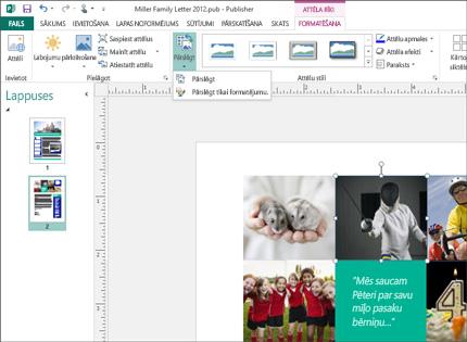 Publisher publikācijas ekrānuzņēmums ar lentē rādītiem attēlu rīkiem.