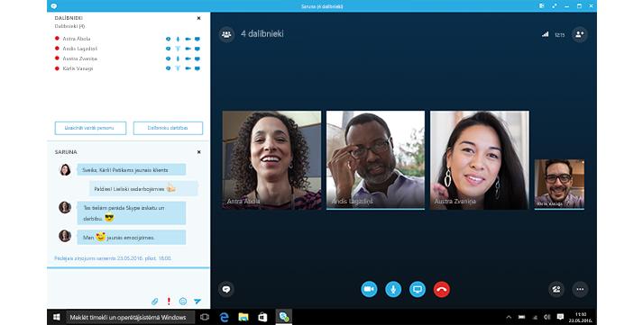 Skype darbam sākuma ekrāna ekrānuzņēmums ar kontaktpersonu sīktēliem un savienojuma izveides opcijām.