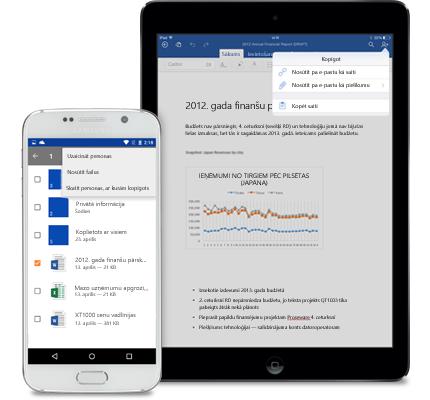 Planšetdators un viedtālrunis, kurā redzama kopīgošanas izvēlne pakalpojumā OneDrive darbam.