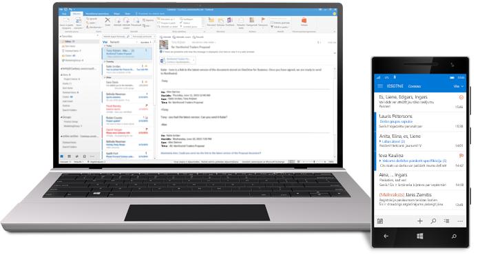 Planšetdators un viedtālrunis, kurā redzama Office365 e-pasta iesūtne.