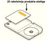 Produkta atslēgas atrašanās vieta uz DVD vāciņa