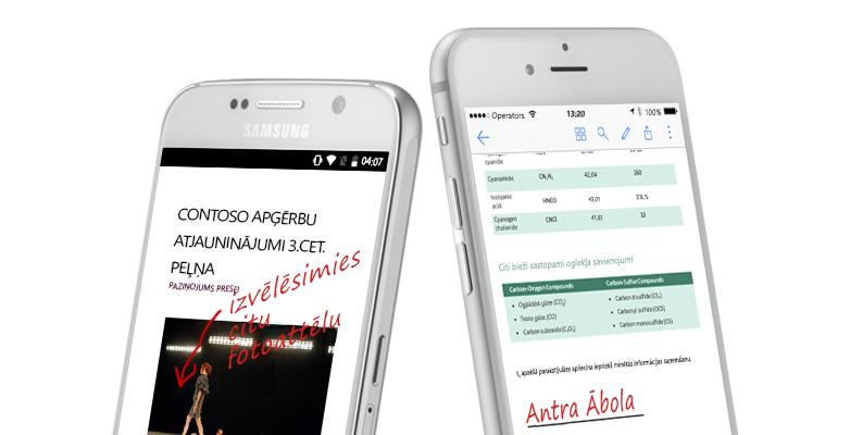 divi viedtālruņi, kuros redzami dokumenti un ar roku rakstītas piezīmes par tiem