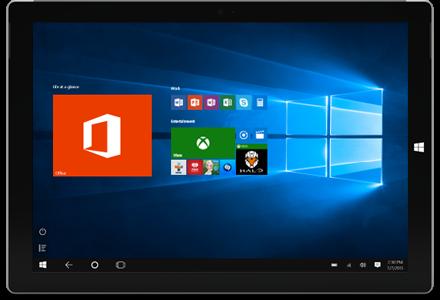 Planšetdators, kurā redzamas Office lietojumprogrammas un citi elementi Windows 10 sākuma ekrānā