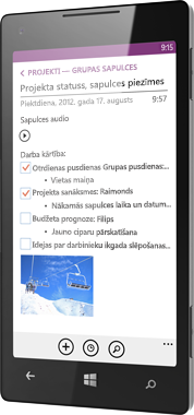OneNote darbam ar Windows Phone