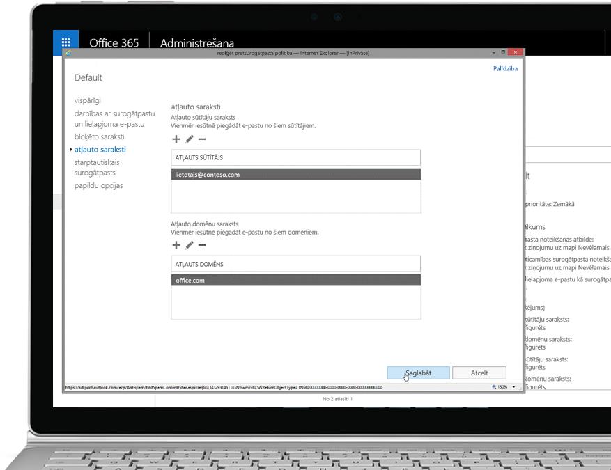 Planšetdators, kurā redzama pretsurogātpasta politikas rediģēšana Office365 administratora konsoles atļauto sūtītāju un domēnu sadaļā