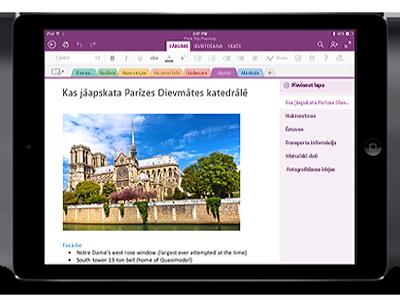 OneNote darbam ar iPad