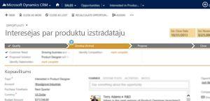 Tirdzniecības iespēju lapas attēls pakalpojumā Microsoft Dynamics CRM Online.